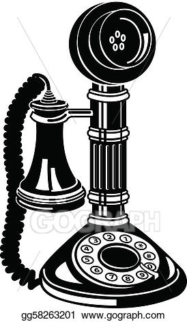 Clipart telephone antique telephone. Eps vector or phone