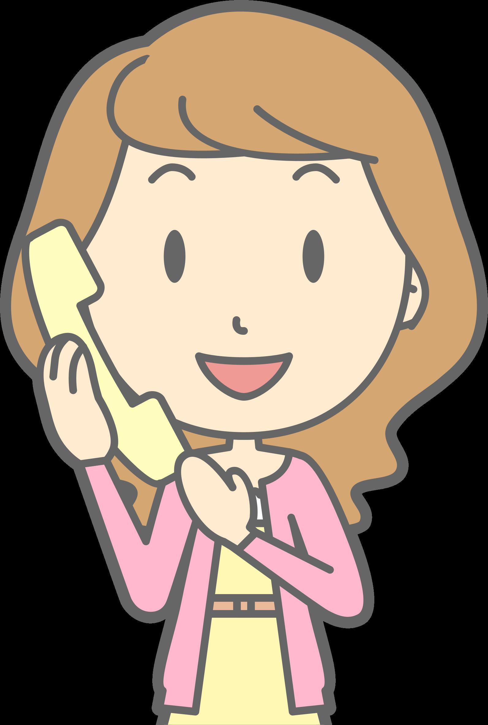 Telephone clipart clip art pink. Female using big image