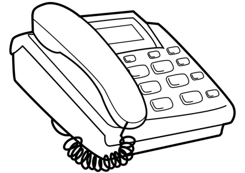 Push button coloring page. Telephone clipart colouring