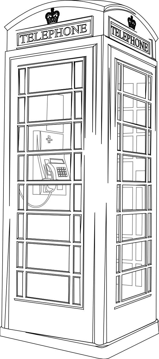Telephone box line drawing. English clipart phone booth