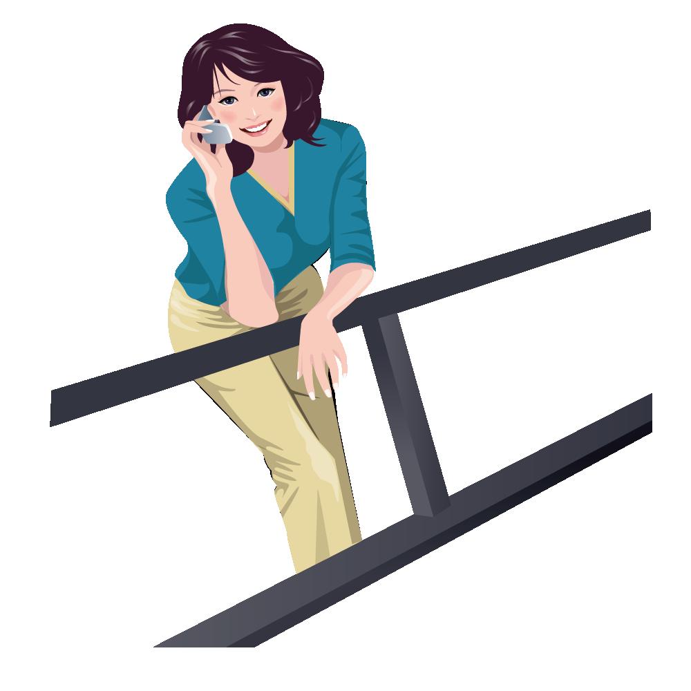 Clipart telephone female person. Mobile phones illustration railing