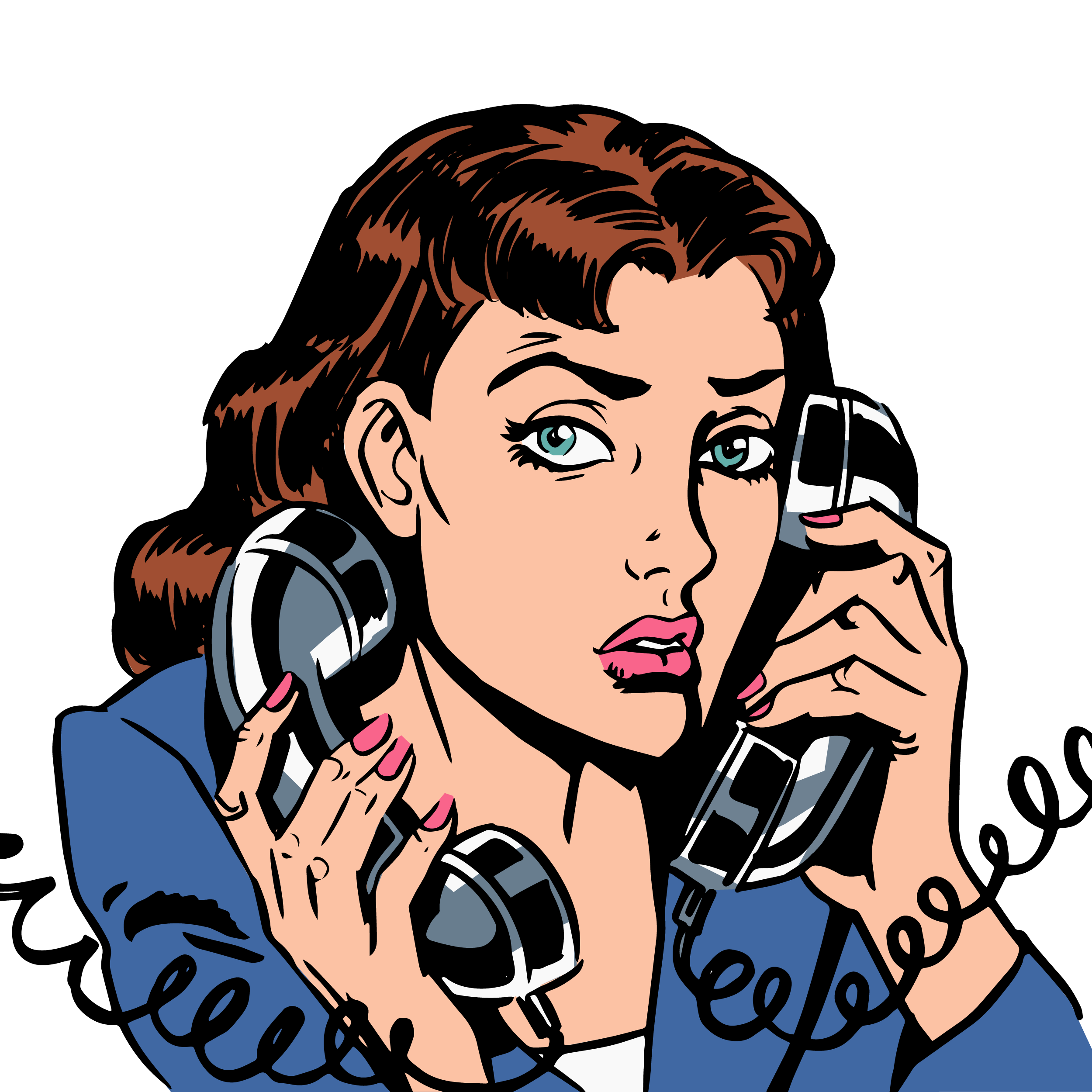 Pop art royalty free. Clipart telephone female person