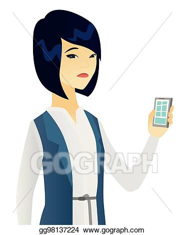 Vector stock disappointed asian. Clipart telephone female person