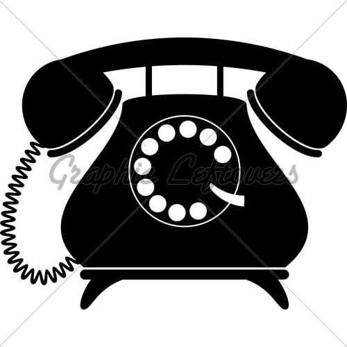 Clipart telephone old fashioned telephone. Retro silhouette gl stock