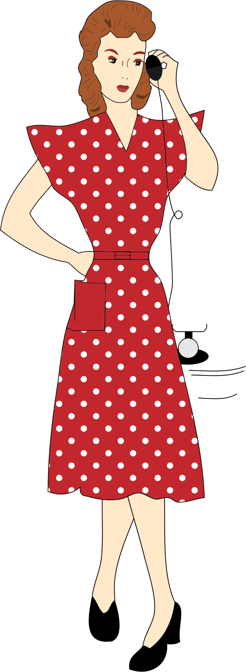 Vintage s woman using. Telephone clipart female person
