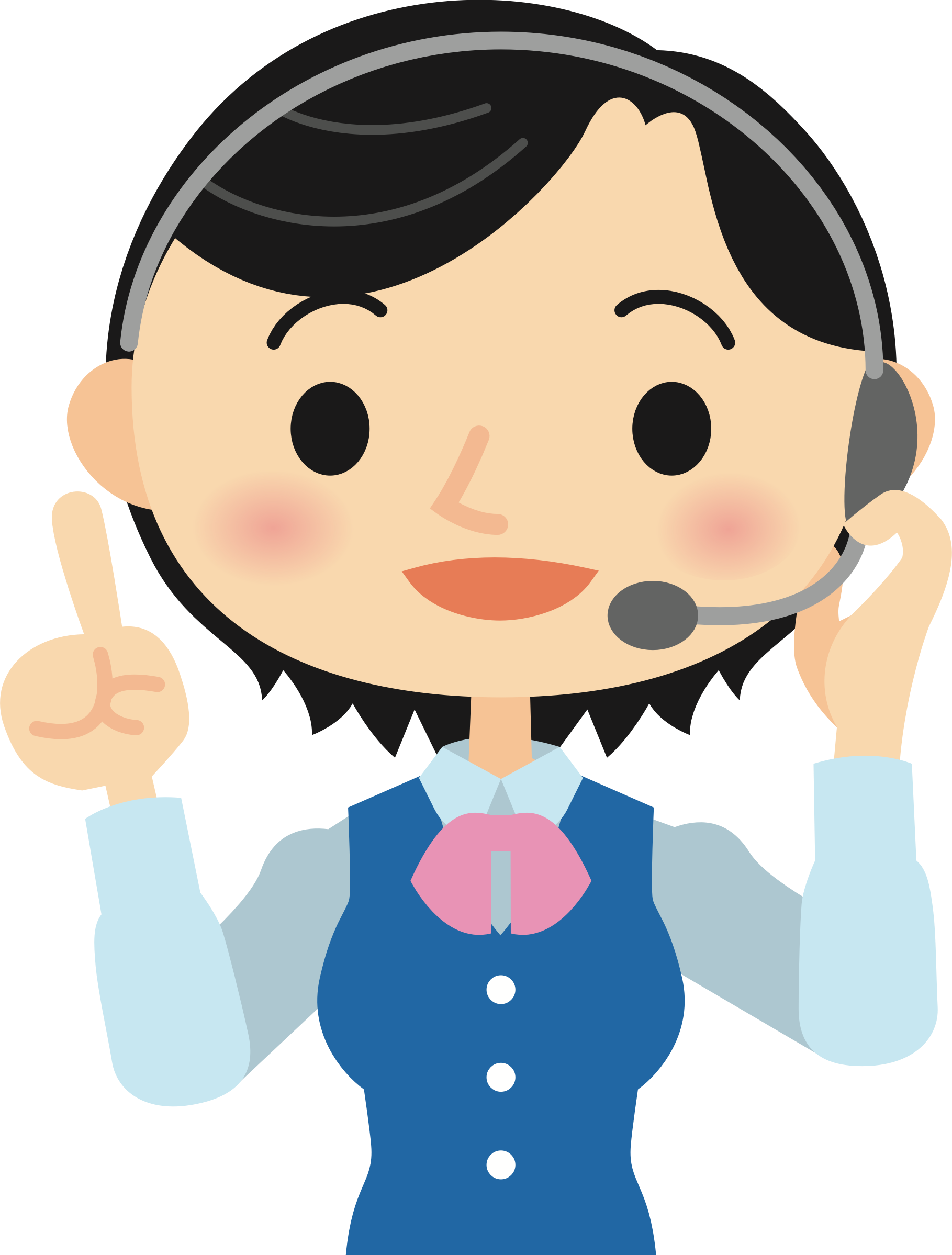 Call centre worker big. Telephone clipart female person