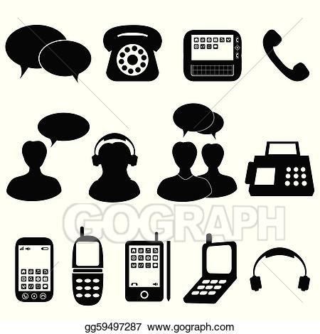 Telephone clipart telephone communication. Vector and icons