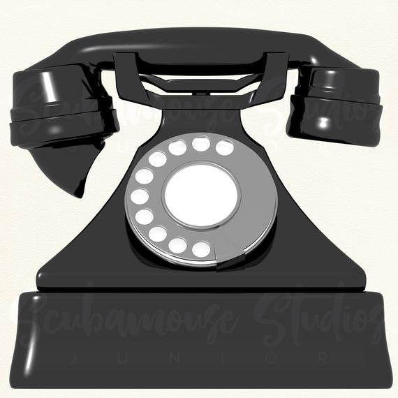 Single rotary telephone retro. Phone clipart vintage phone
