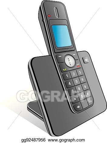 Vector illustration gg . Clipart telephone wireless telephone