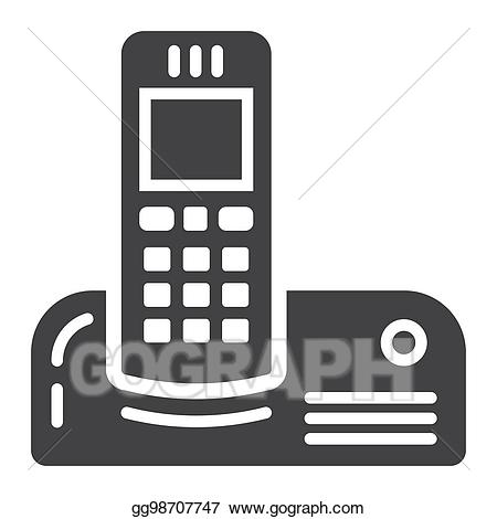 Clipart telephone wireless telephone. Eps illustration solid icon