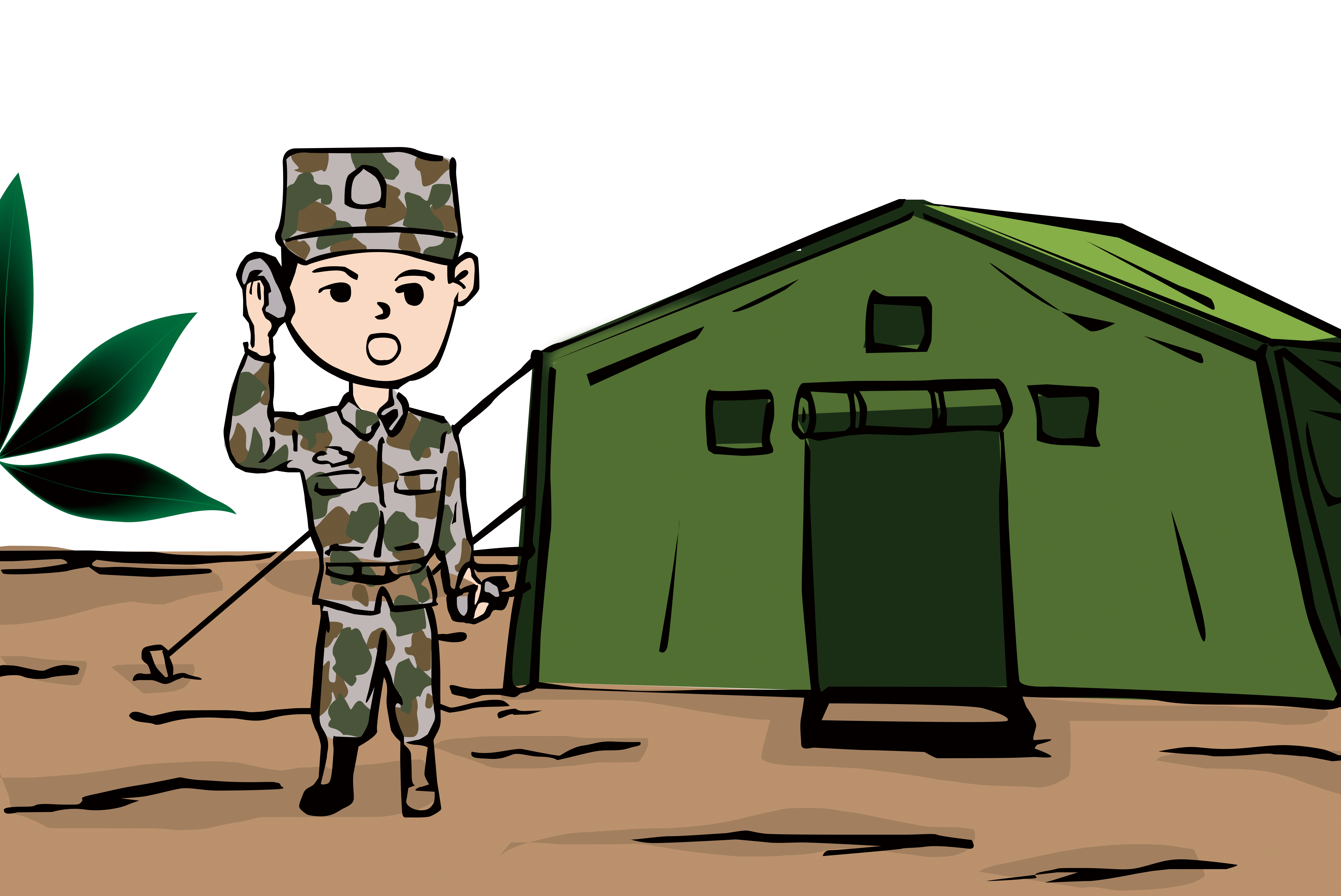 Cartoon camp camping summer. Military clipart military training