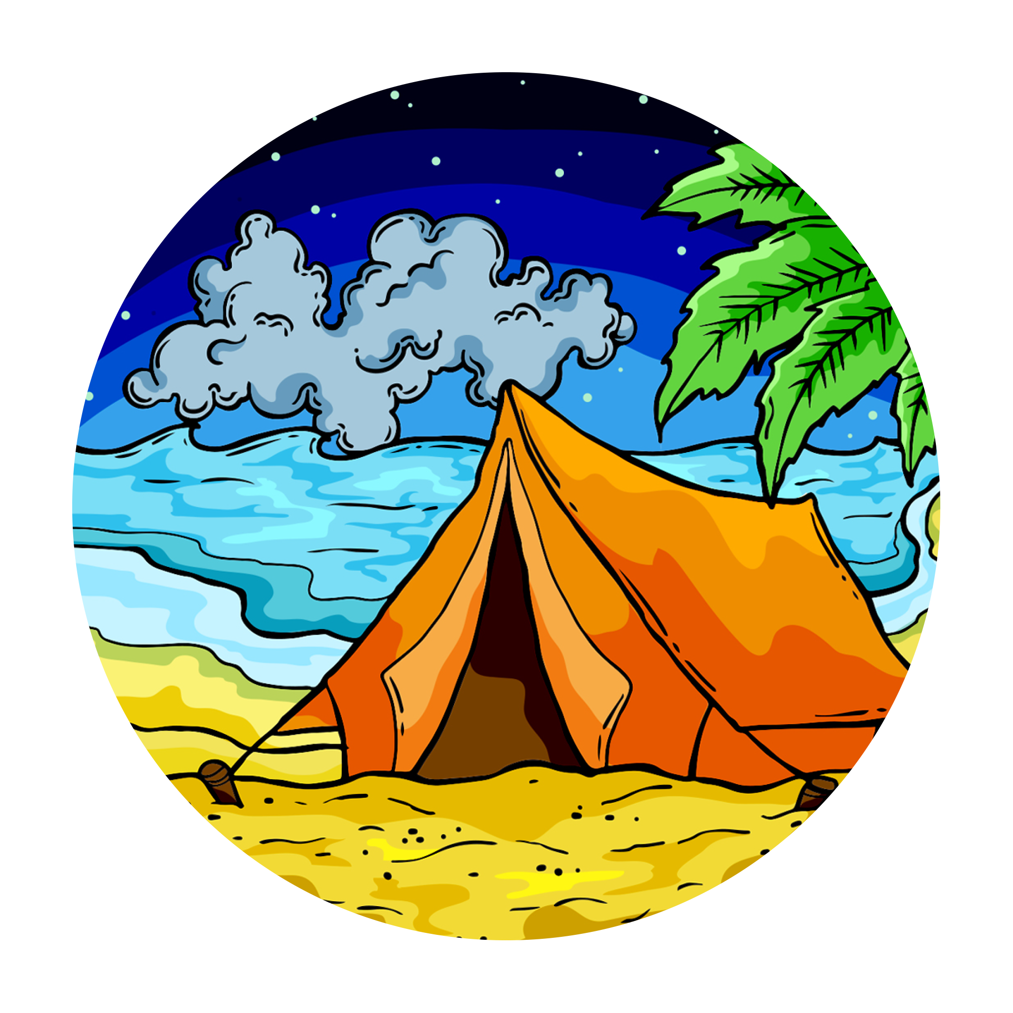Clipart tent beach camping.  doodle
