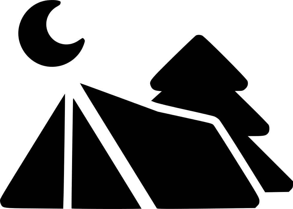 Tree moon svg png. Clipart tent black and white