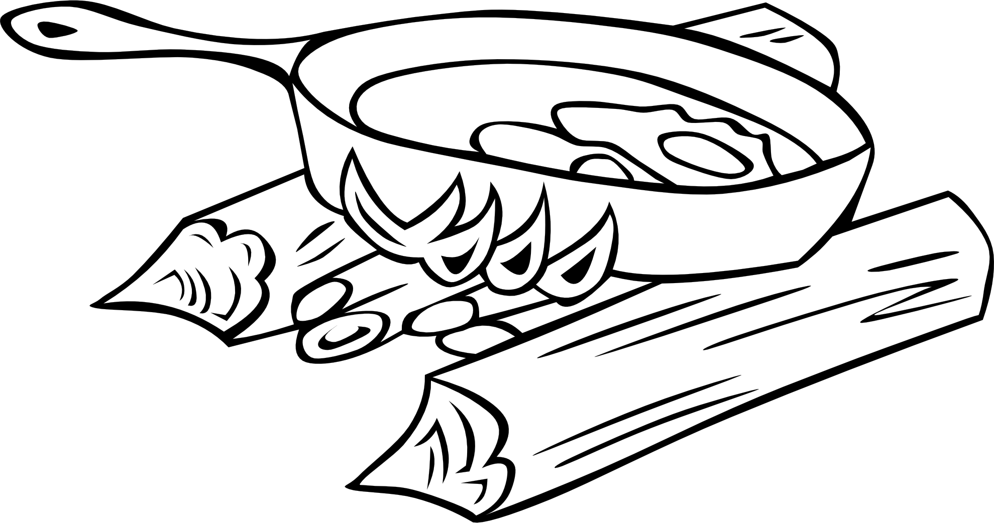 Heat clipart black and white. Campfire panda free images