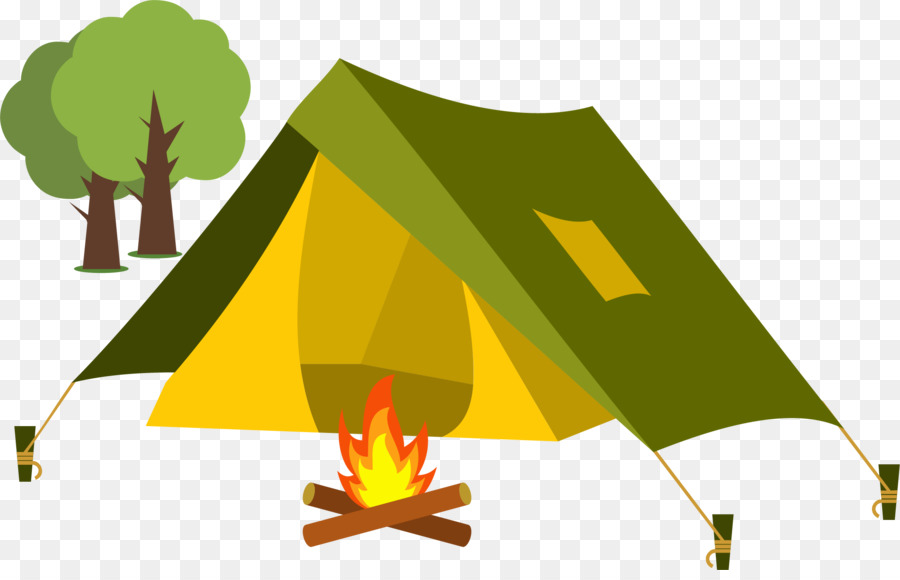 Green grass background camping. Clipart tent campfire