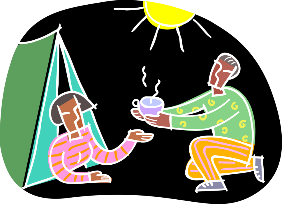 clipart tent camping scene