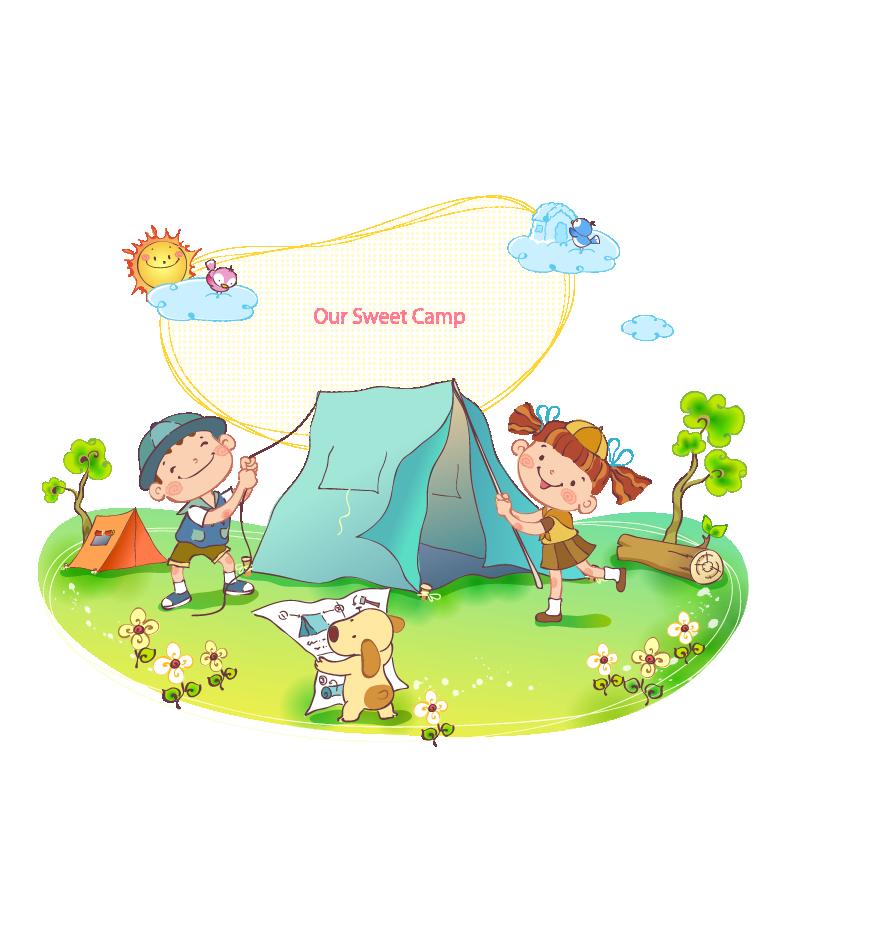 Camping cartoon children transprent. Clipart tent comic
