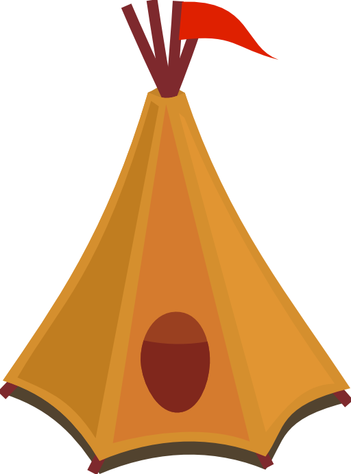 Clipart tent comic. Cartoon tipi with red