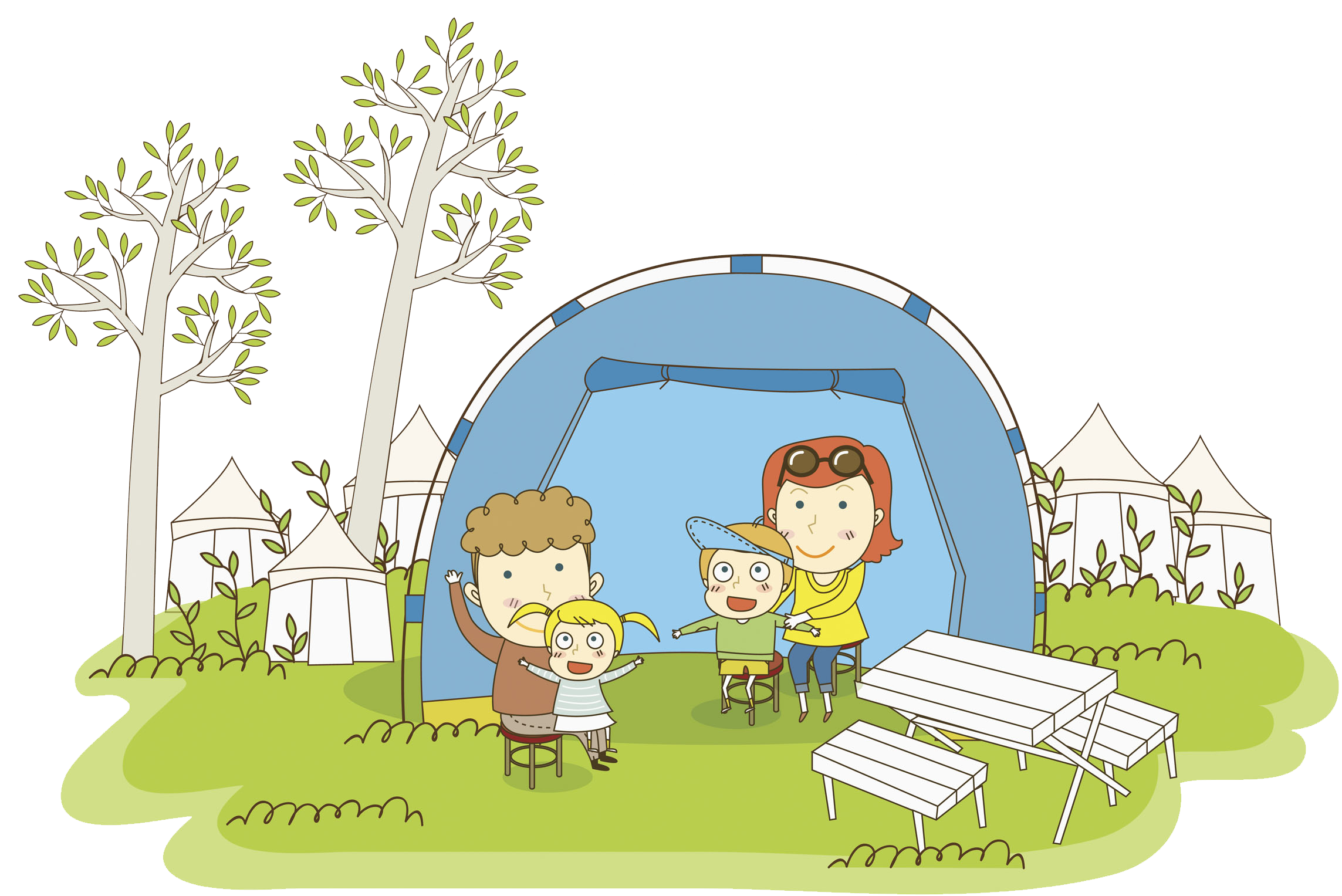Clipart tent different object. Camping illustration time transprent