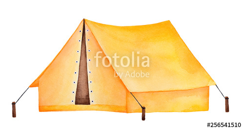 Bright yellow camping watercolour. Clipart tent different object