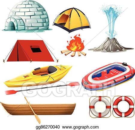 Vector stock objects for. Clipart tent different object