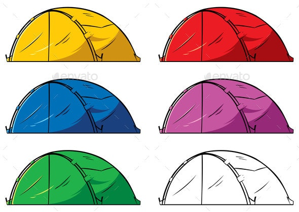 On white . Clipart tent different object
