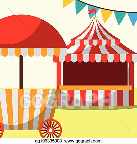 Vector and food booth. Clipart tent fun fair tent