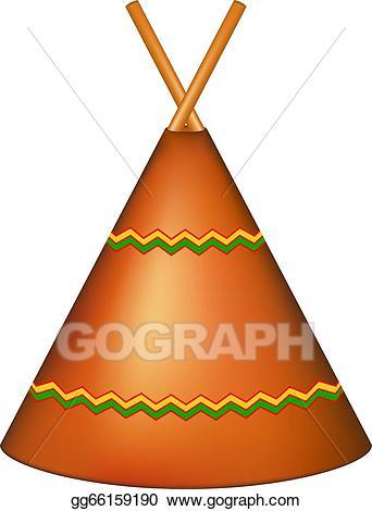 Vector art wigwam teepee. Clipart tent hut indian