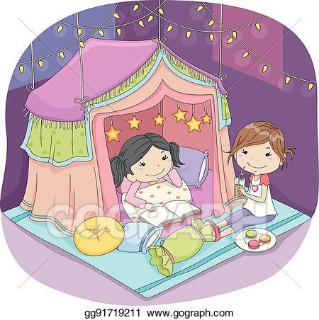 Vector stock kids girls. Clipart tent indoor camping