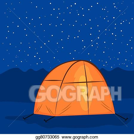 clipart tent night camp