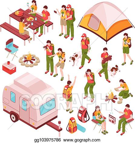 Vector stock barbecue isometric. Clipart tent picnic