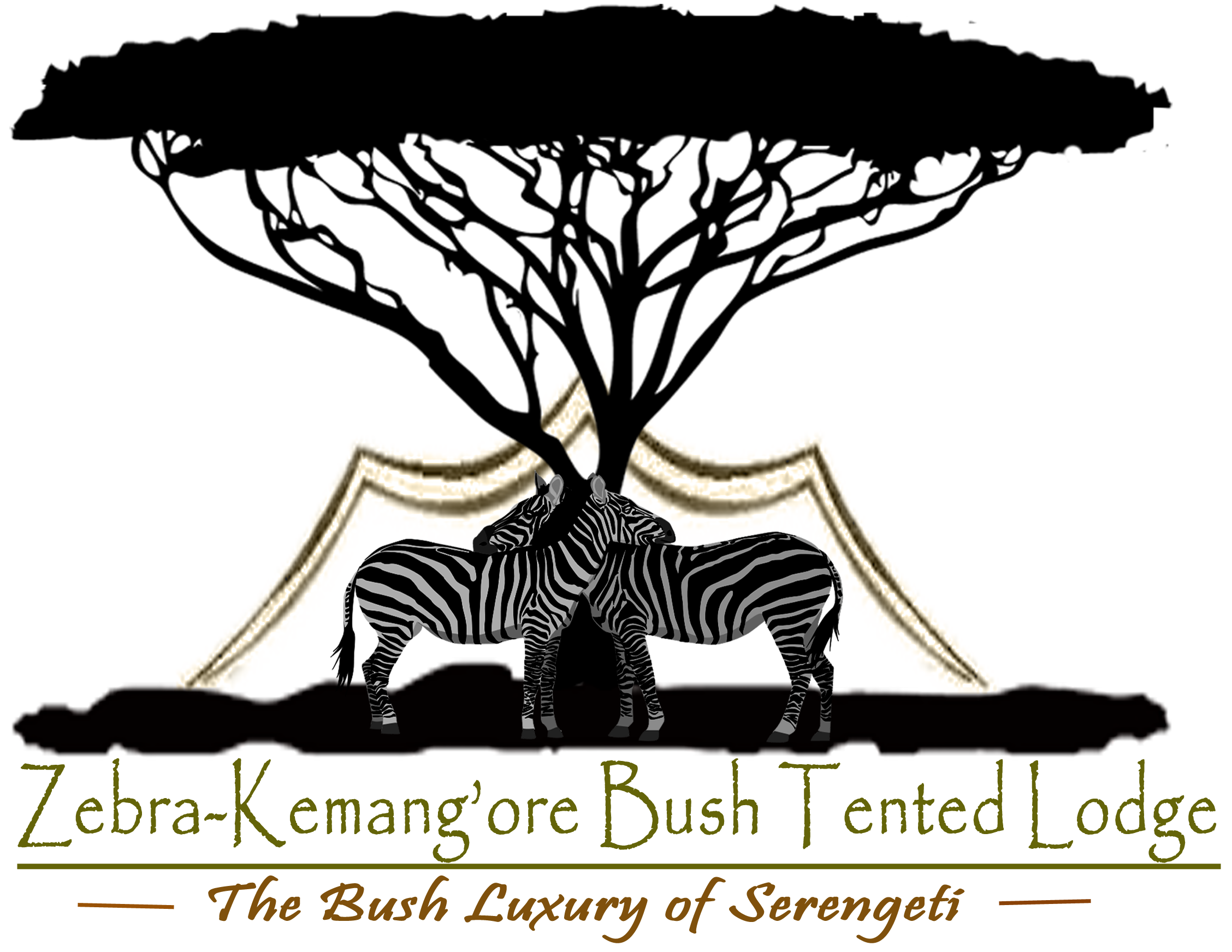 Bush tented lodge. Clipart zebra zebra herd