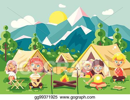 Clipart tent scouts. Clip art vector hildren