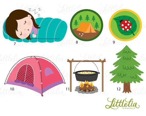 Girls scout camping accessories. Clipart tent scouts