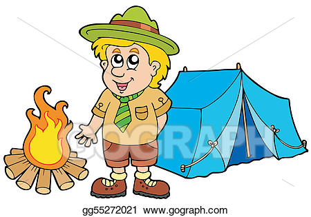 Eps vector scout with. Clipart tent scouts