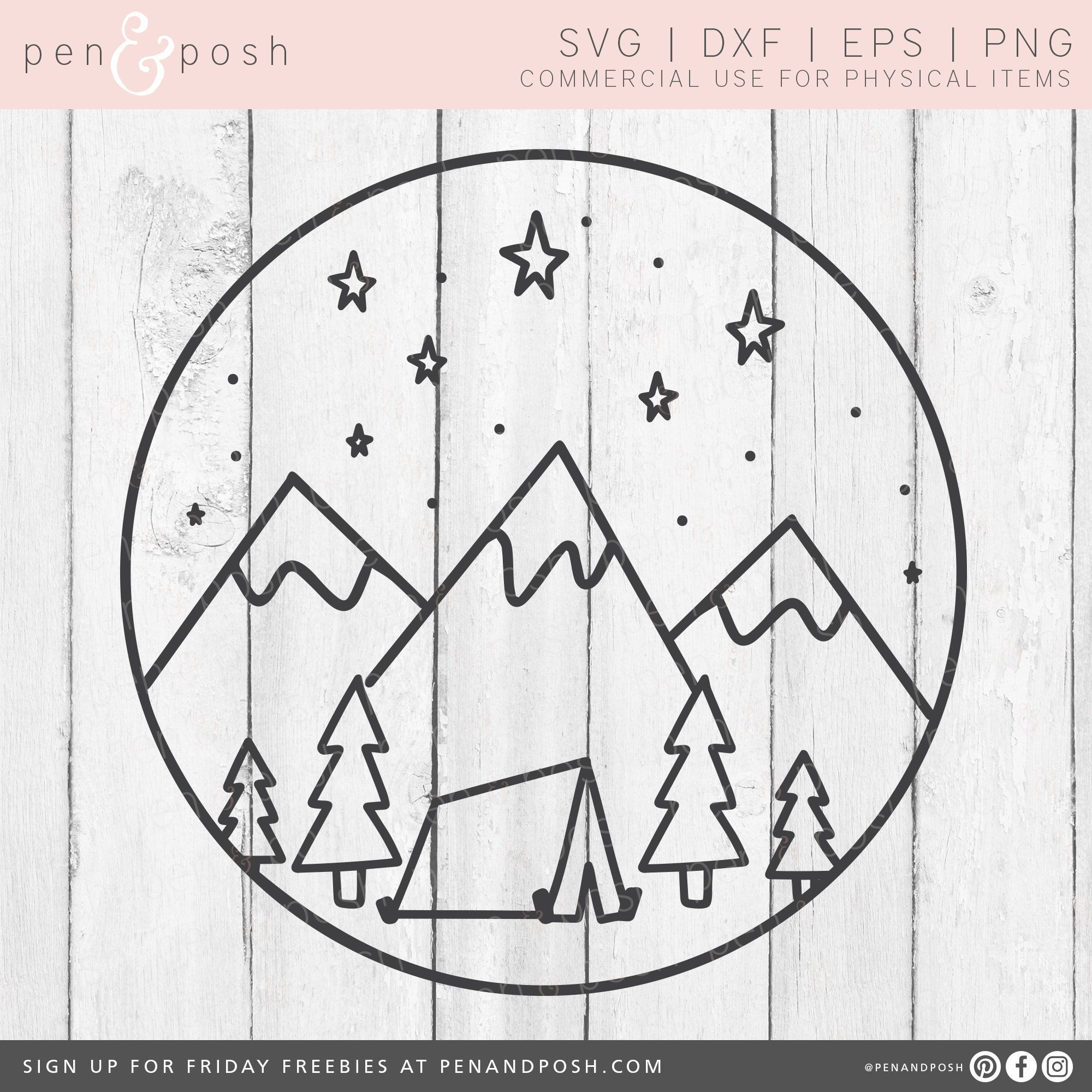 Clipart tent svg. Camping mountains handdrawn scene