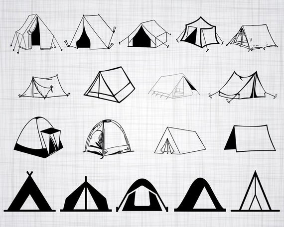 Clipart tent svg. Camping cut files for