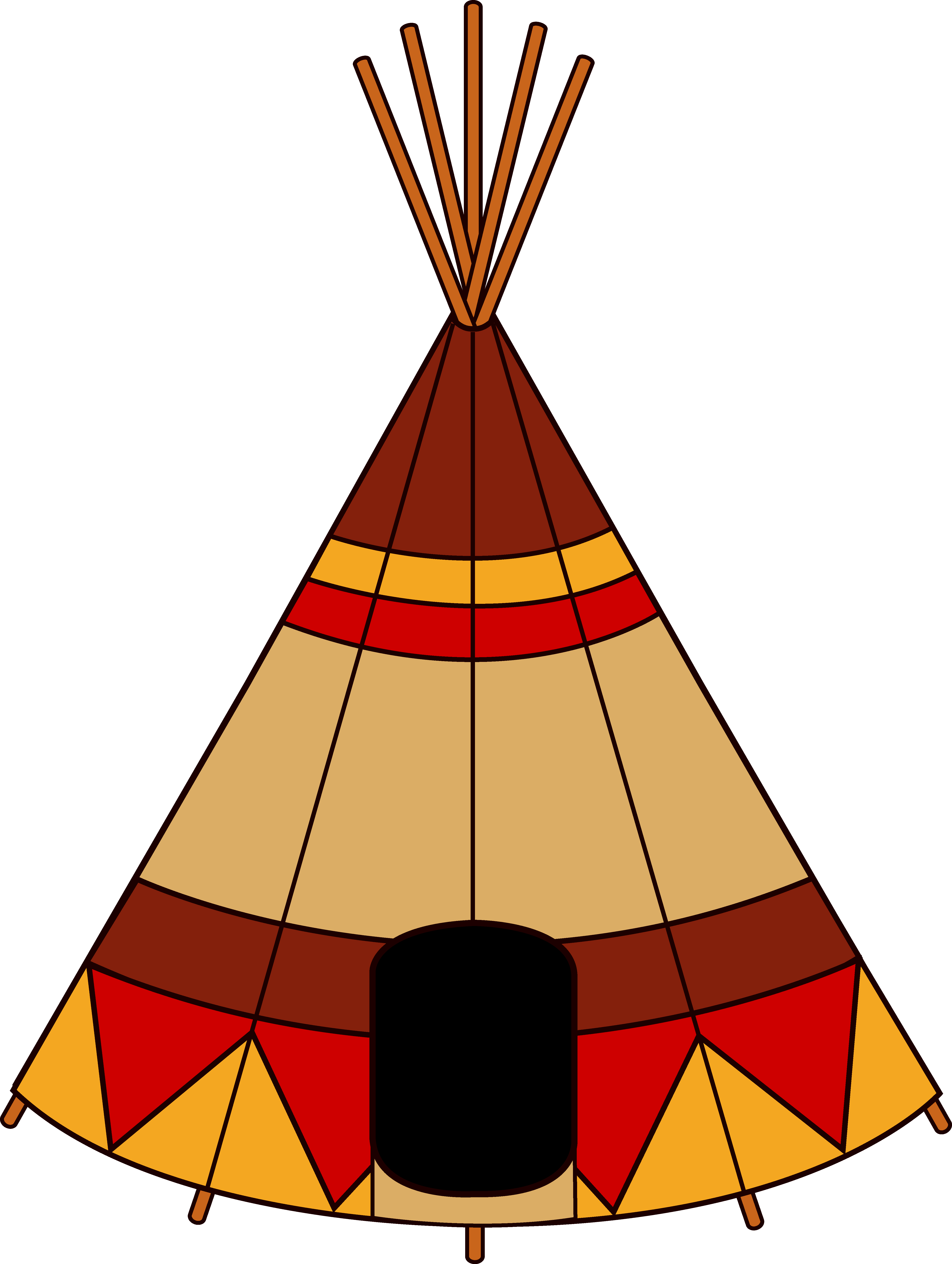 Native american teepee free. Wolves clipart orange