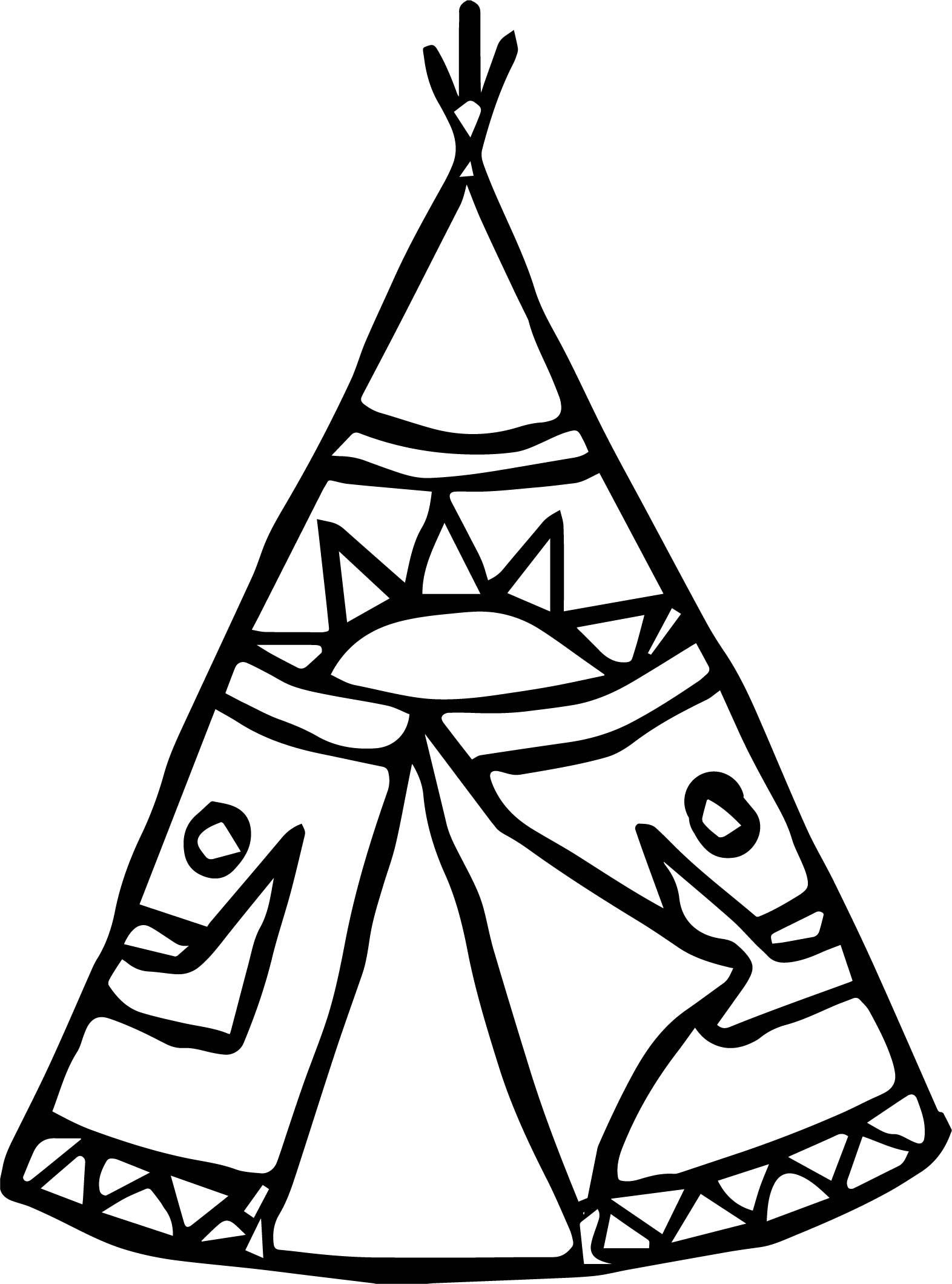 Nice american coloring page. Indians clipart tent indian