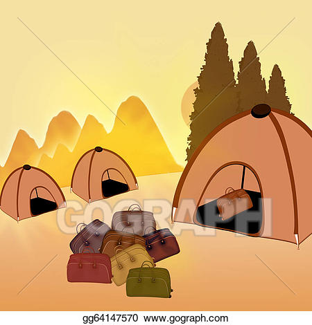 Stock illustrations bags . Clipart tent travel