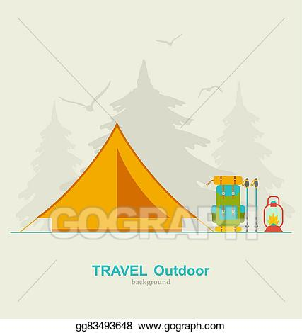 Clipart tent travel. Vector art camping background