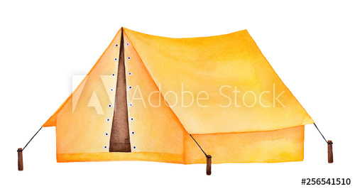 Bright yellow camping watercolour. Clipart tent triangle object