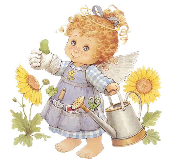 Cute gardener with watering. Gardening clipart angel