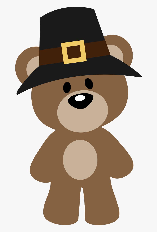 Pilgrim teddy cartoon . Clipart thanksgiving bear