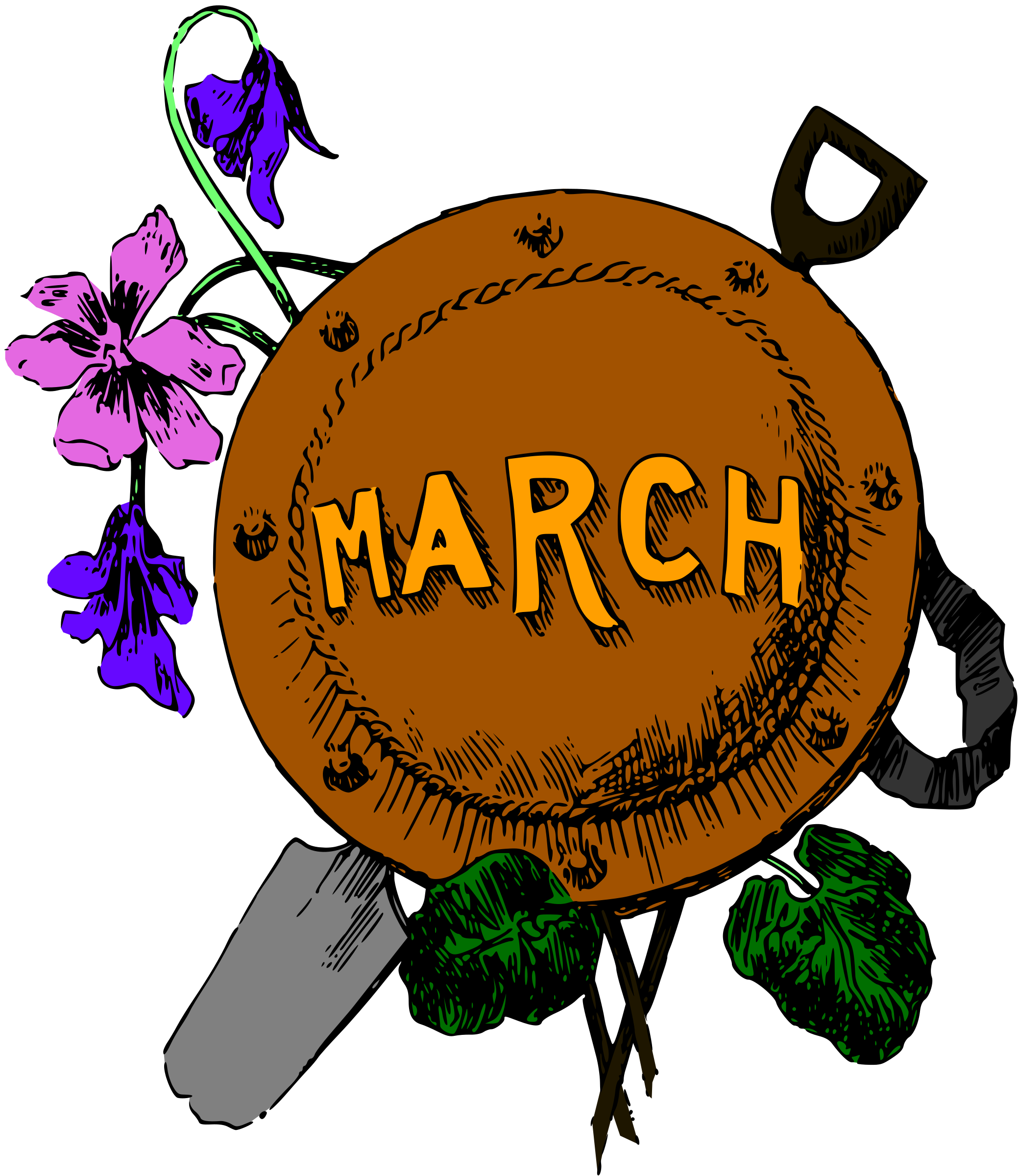 Illustrated months march colour. Converse clipart illustration