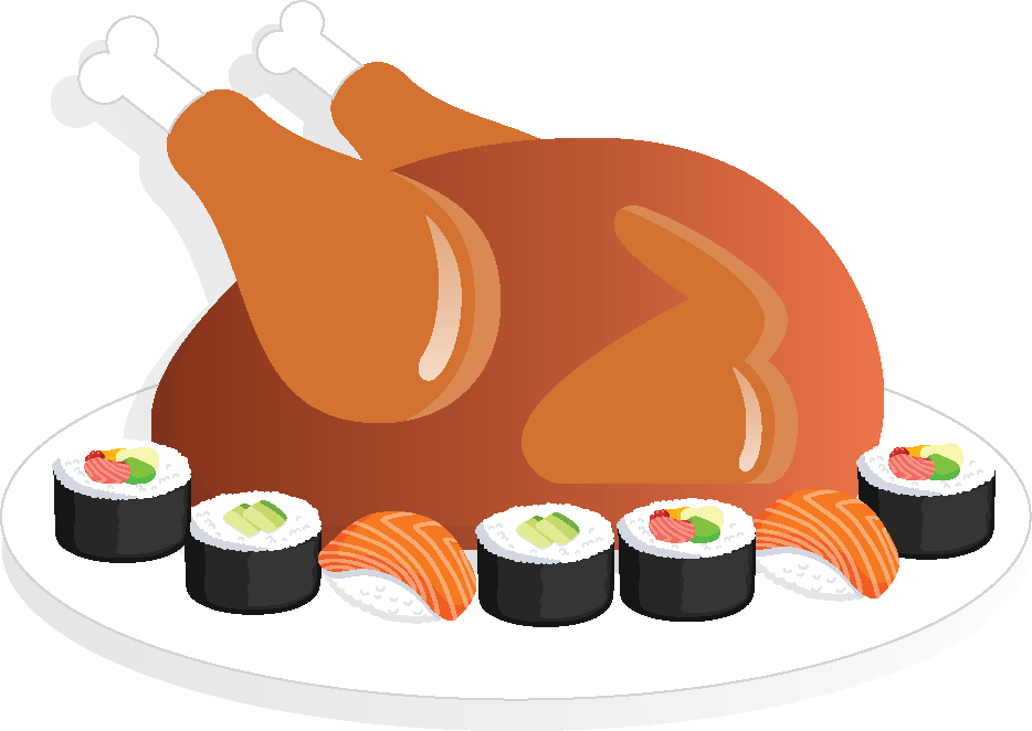 Turkey tofu and by. Salmon clipart sushi japanese