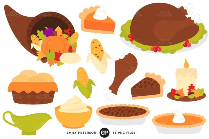 Cartoon illustration . Clipart thanksgiving foods