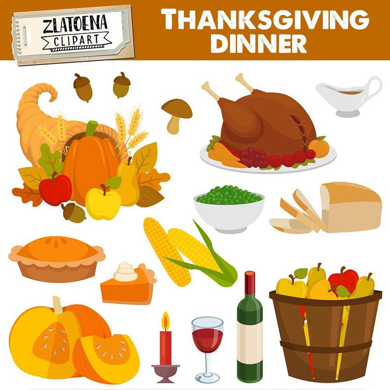 Clipart thanksgiving foods. Dinner clip art graphic