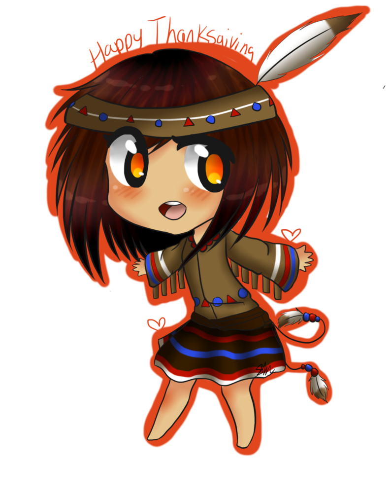 Clipart thanksgiving indians. Chibi indian happy by