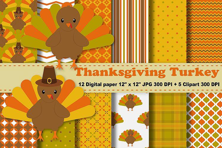 Clipart thanksgiving pattern. Digital paper turkey background